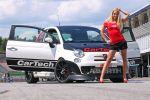 CarTech Fiat 500 Abarth 1.4 T-Jet-Vierzylinder Turbo Akrapovic Front Seite Ansicht Carbabe