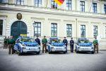 BMW i3 Polizei Elektroauto Elektromotor E-Maschine München Bayern Connected Rescue Signalanlage RTK 7 Anhalte Flash Yelp Anhaltesignal Druckkammerlautsprecher Front