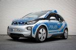 BMW i3 Polizei Elektroauto Elektromotor E-Maschine München Bayern Connected Rescue Signalanlage RTK 7 Anhalte Flash Yelp Anhaltesignal Druckkammerlautsprecher Front Seite