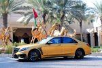 Brabus Rocket 900 Desert Gold Edition Mercedes-AMG S 65 S-Klasse W222 Limousine V12 Biturbo Zwölfzylinder Tuning Leistungssteigerung Aerodynamik Kit Carbon Airmativ Sport Unit Monoblock Platinum Edition Räder Felgen Front Seite