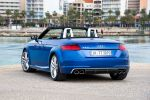 audi tts roadster cabrio 2015 test 2.0 tfsi quattro allrad sportwagen s tronic doppelkupplungsgetriebe vierzylinder turbo matrix led scheinwerfer virtuelles virtual cockpit tft monitor infotainment mmi touch multi media interface internet wlan magnetic ride drive select auto dynamic progressivlenkung side assist active lane assist probefahrt fahrbericht review heck
