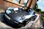 Porsche 997 Turbo Cabrio Test - Front Ansicht vorne seitlich Frontscheinwerfer Windschutzscheibe