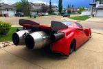 Ferrari Enzo Jet Dragster Insanity Ryan McQueen Kanada Düsentriebwerk Flugzeugturbine Strahltriebwerk Höchstgeschwindigkeit Top Speed Vmax Verbrauch Kerosin Heck