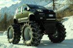 Fiat Panda Bigfoot Monstertruck 4x4 Allrad Offroad SUV 0.9 TwinAir Turbo Diesel 1.3 Multijet II Geländewagen Jeep CJ-7 Mercurio Cinematografica Front Seite Ansicht