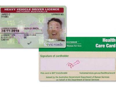Jared Hyams Führerschein VicRoads Australien Unterschrift Signatur