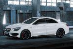 Mercedes-Benz CLA 45 AMG 2.0 Vierzylinder Turbo viertüriges Coupe Performance Limousine 4MATIC Allrad Speedshift DCT 7 Gang Sportgetriebe Seite Ansicht