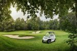Mercedes-Benz Style Edition Garia Golf Car Golfwagen Touchscreen Bildschirm Touchpad Internet Green Caddy Fairway Golfplatz Loch Front Seite