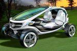 Mercedes-Benz Vision Golf Cart Golfspieler Elektromotor Straße Green Golfplatz Touchscreen Scorekarte Airscarf Joystick Flutlicht Regenradar Stauraum Platz Halfway Front Seite