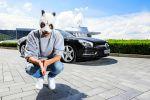 Mercedes-Benz SL Roadster Cro Panda Maske Rapper V8 Markenbotschafter