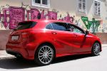 mercedes benz a 250 blue efficiency amg sport test - a-klasse kompaktklasse 2.0 vierzylinder turbo benziner 7g-dct doppelkupplungsgetriebe xtc extended traction control collision prevention assist distronic plus pre-safe attention assist parkassistent internet heck seite ansicht